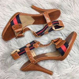 Michael Kors T-strap Nautical Navy Red Sandals 9